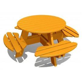 Rundt bord med benker