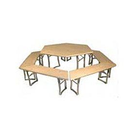 Sammenleggbart sekskantet bord med benker, barnestørrelse