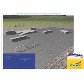 Standard skateanlegg i betong nr 5